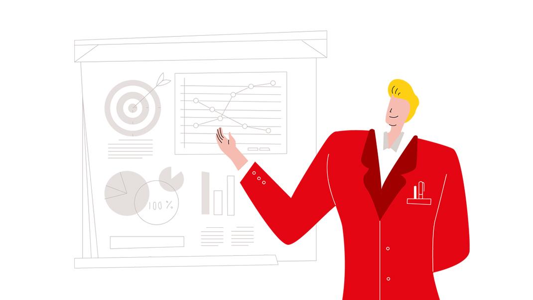 Illustrierte Person zeigt auf Infografik